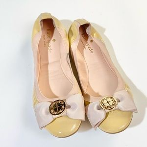 Kate Spade nude patent leather flats with signature bow